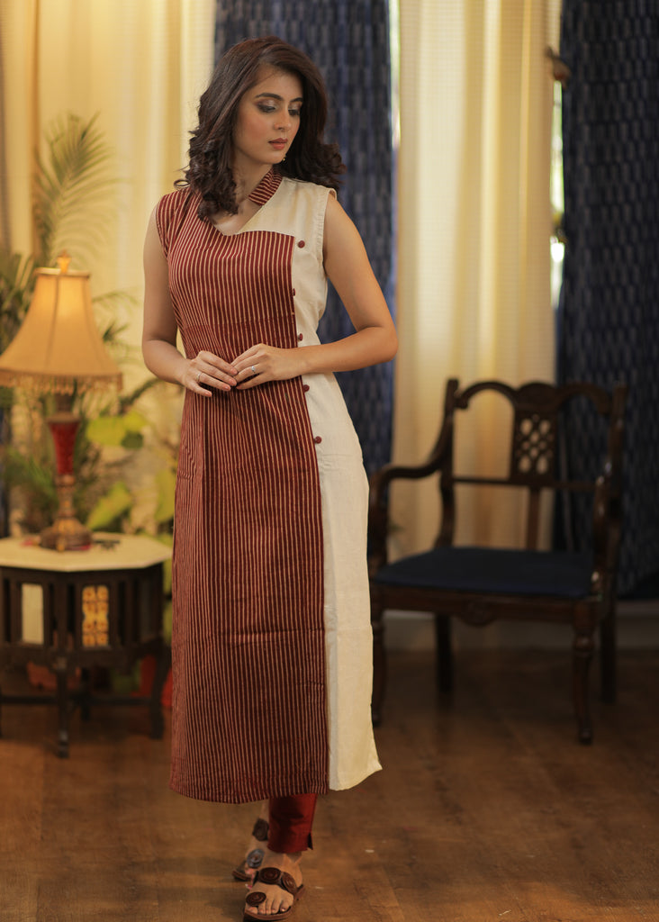 Straight cut Handloom Cotton Kurta with Ajrakh Combination