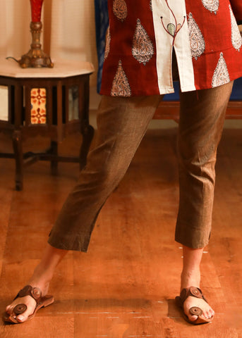 Pure handloom cotton dark beige narrow pant