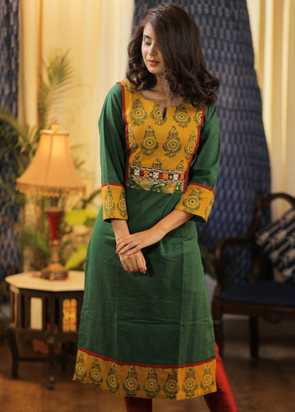 A-line  Cotton Handloom Kurta with Ajrakh, Batik and Hand made Kutch Mirror Embroidery