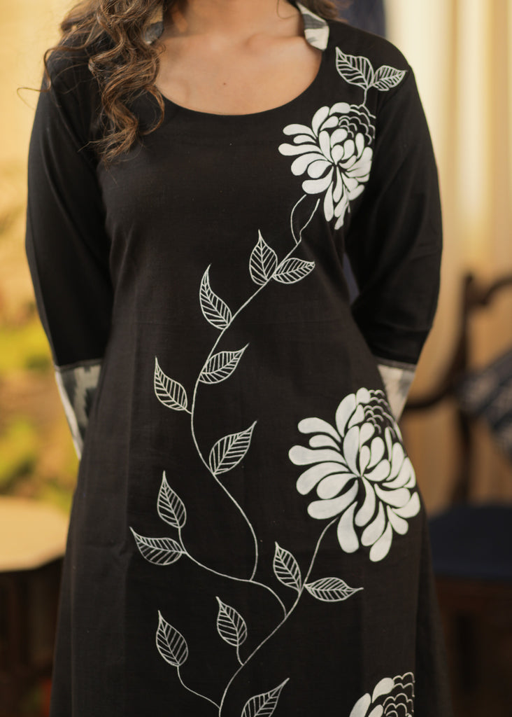 A-line Handloom Cotton Kurta with Ikat and  Exclusive Hand Painting all over