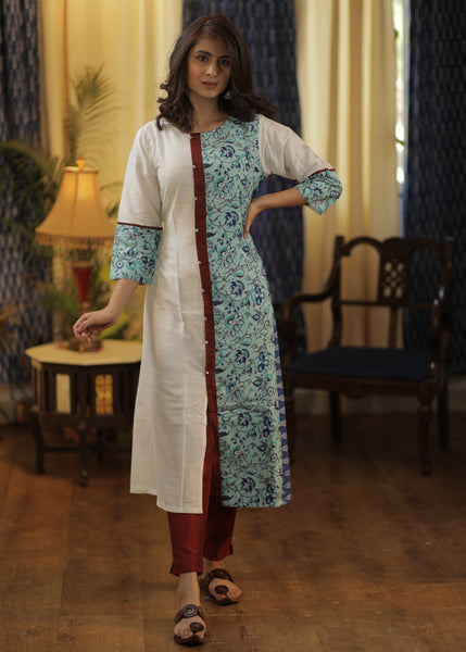 A-line cotton  Silk Kurta with Block print and Ikat Combination