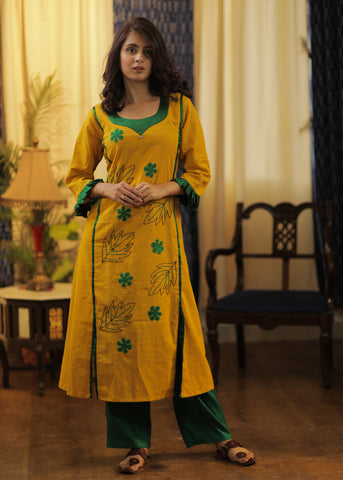 A-line Cotton Handloom kurta with Hand made Khun Flowers and Hand Embroidery