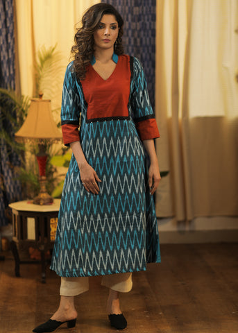 A-line Cotton Silk kurta with Ikat and Khun Yoke