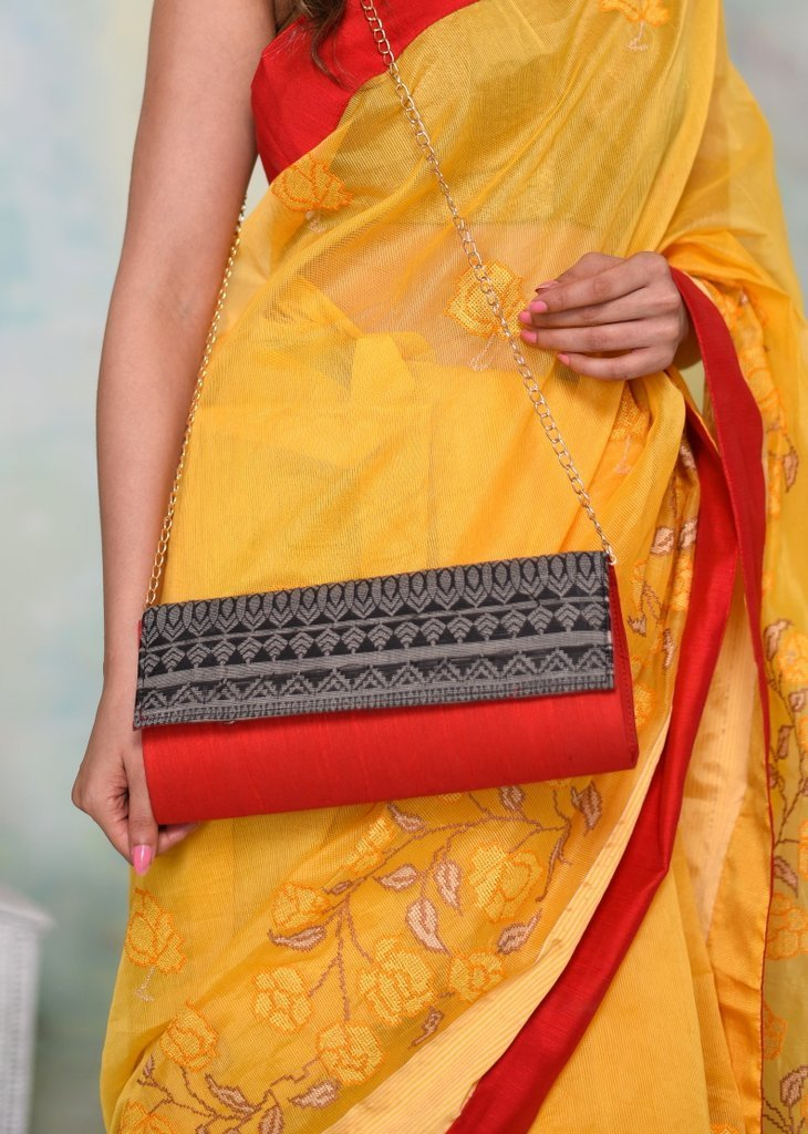 Bags - Exclusive Designer Clutch With Woven Flap