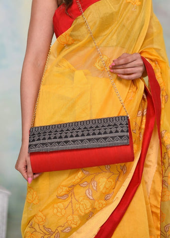 Exclusive designer clutch with woven flap