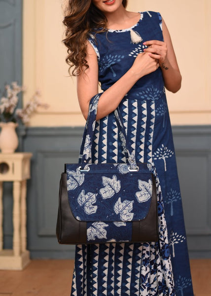 Bags - Indigo Printed Faux Leather Tote Bag