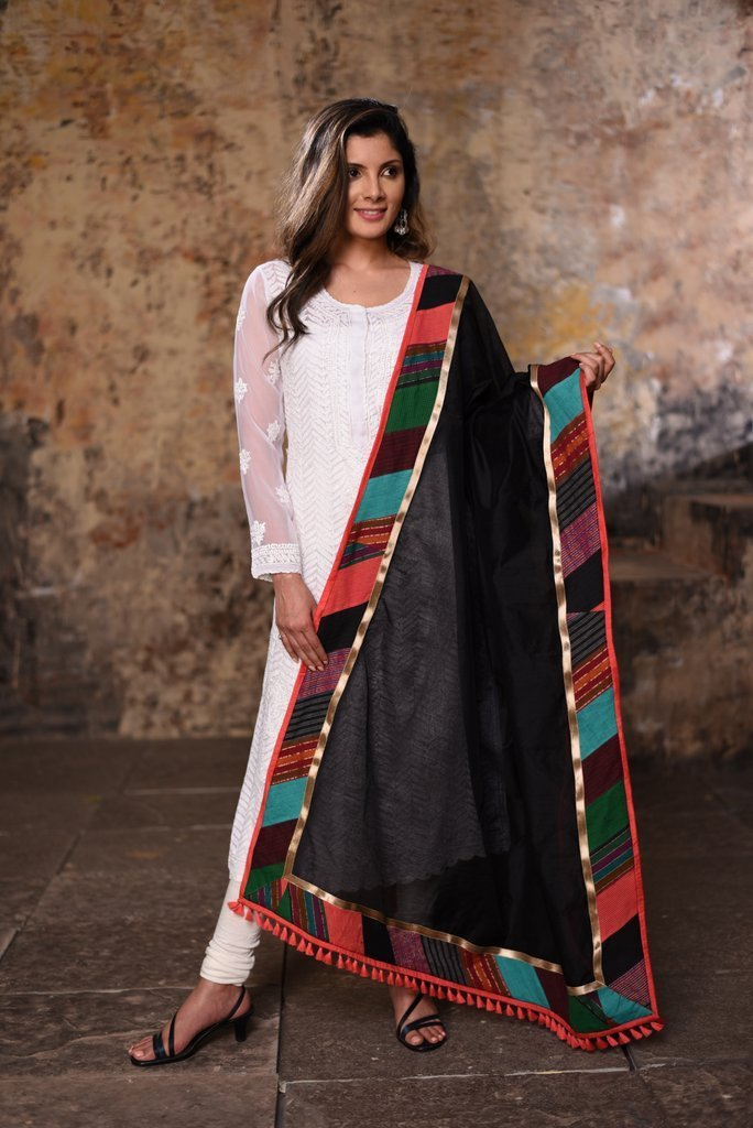 Dupatta - Black Chanderi With Multicoloured Border Dupatta