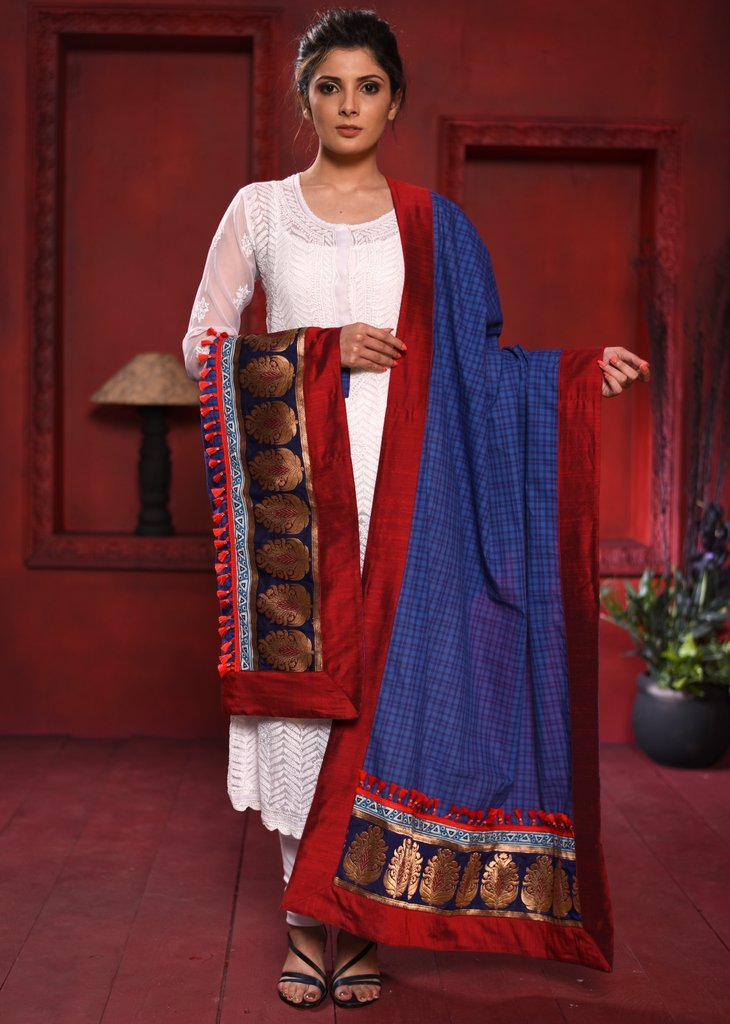 Dupatta - Blue Checks Handloom Cotton Dupatta With Benarasi Patches