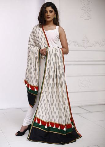 Elegant Ikat Dupatta with zari border