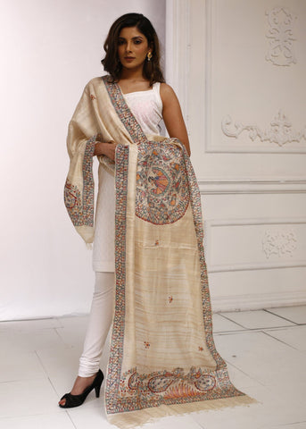 Hand painted pure tasar silk dupatta with intricate madhubani painting 1