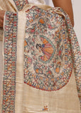 Dupatta - Hand Painted Pure Tasar Silk Dupatta With Intricate Madhubani Painting 1