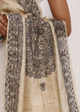 Hand painted pure tasar silk dupatta with intricate madhubani painting  2 - Sujatra
