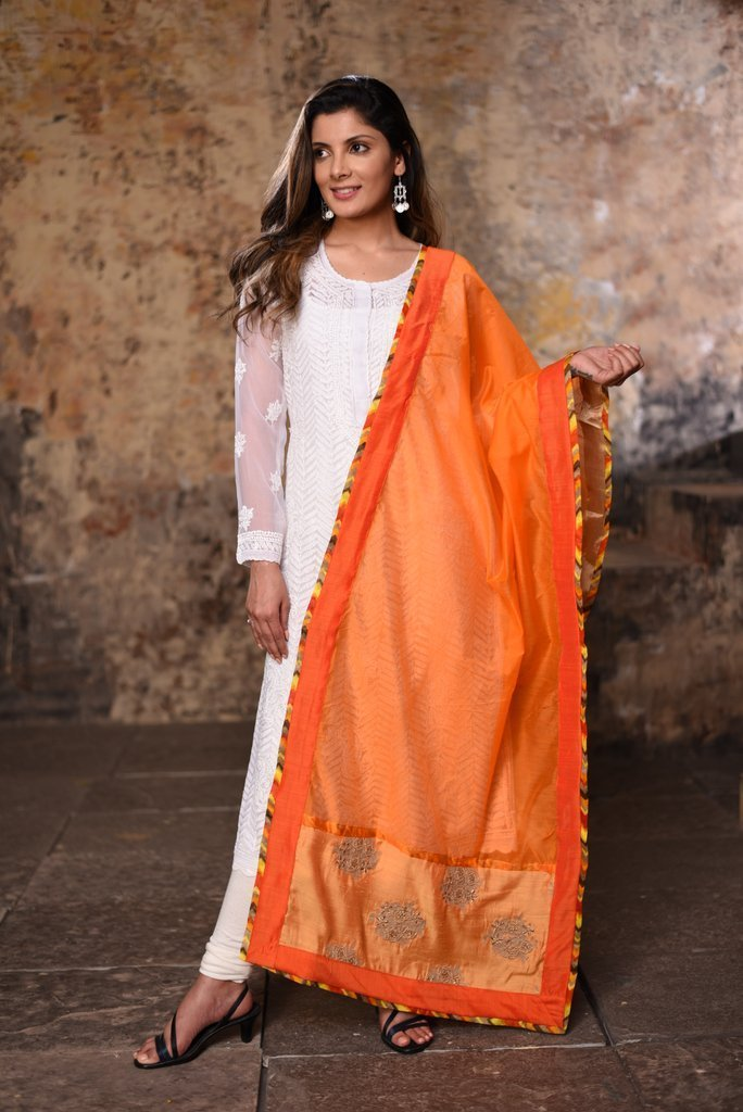Dupatta - Orange Chanderi Dupatta  With Benarasi Patch