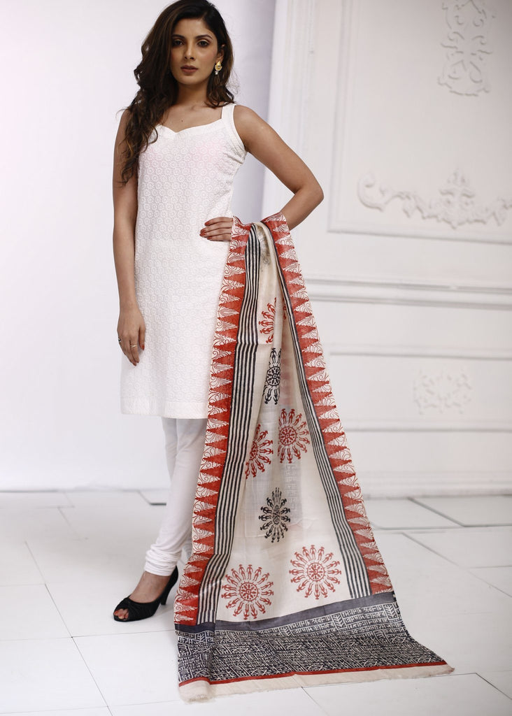 Dupatta - Printed Pure Silk Dupatta With Warli Print And Mantra Print