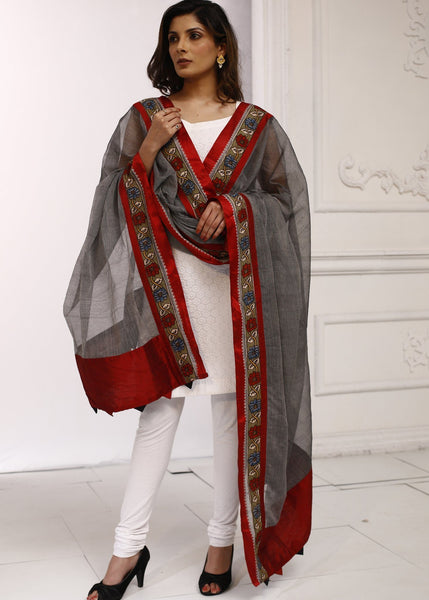 Dupatta - Pure Cotton Dupatta With Kalamkari Border