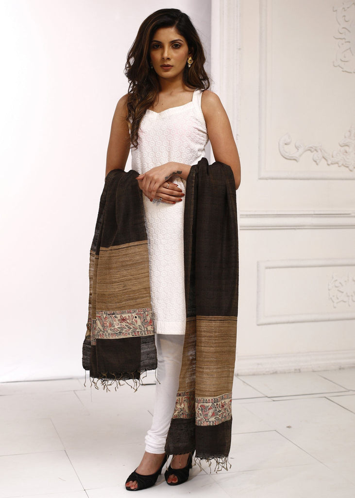 Dupatta - Pure Ghicha Silk Black Dupatta With Madhubani Hand Painting Combination