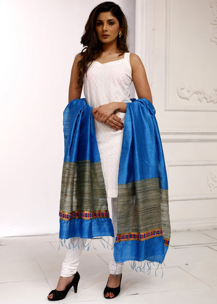 Dupatta - Pure Ghicha Silk Blue Dupatta With Madhubani Hand Painting Combination