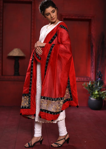 Red chanderi dupatta with ikat & net combination