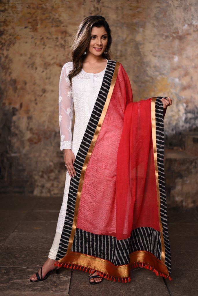 Dupatta - Red Chanderi With Ikat & Zari Border Dupatta