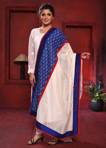 White chanderi & exclusive ikat combination dupatta