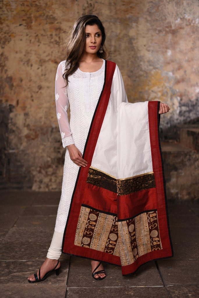 Dupatta - White Chanderi With Mantra Printed Dupatta With Benarasi Patch
