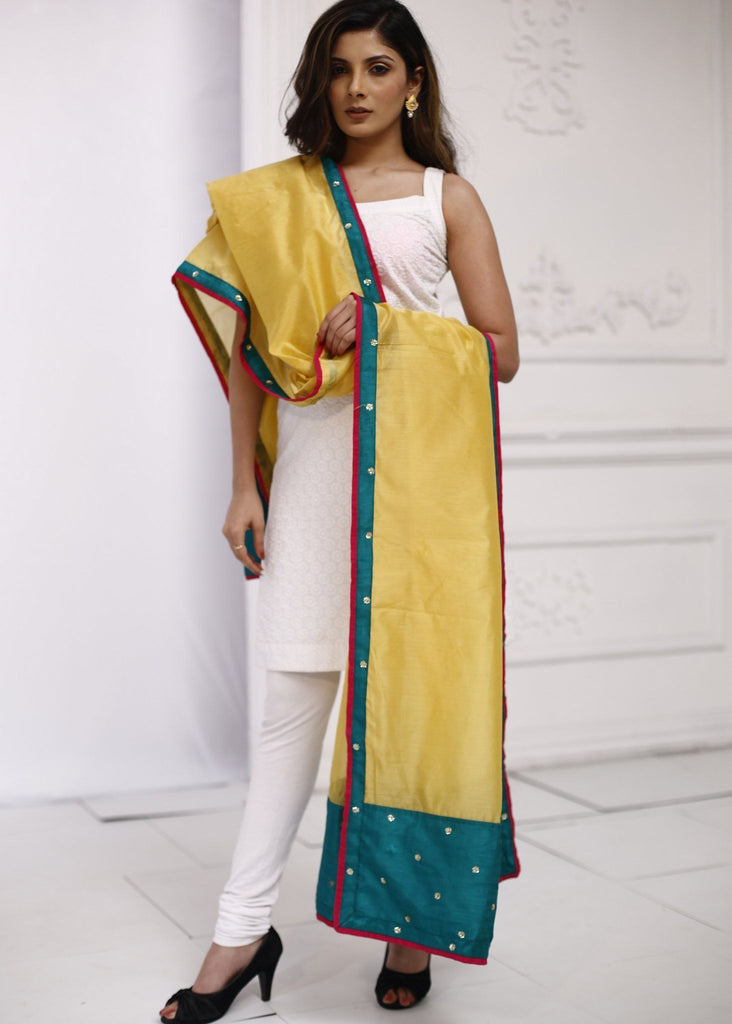 Yellow Chanderi dupatta with embroidered border 1 - Sujatra