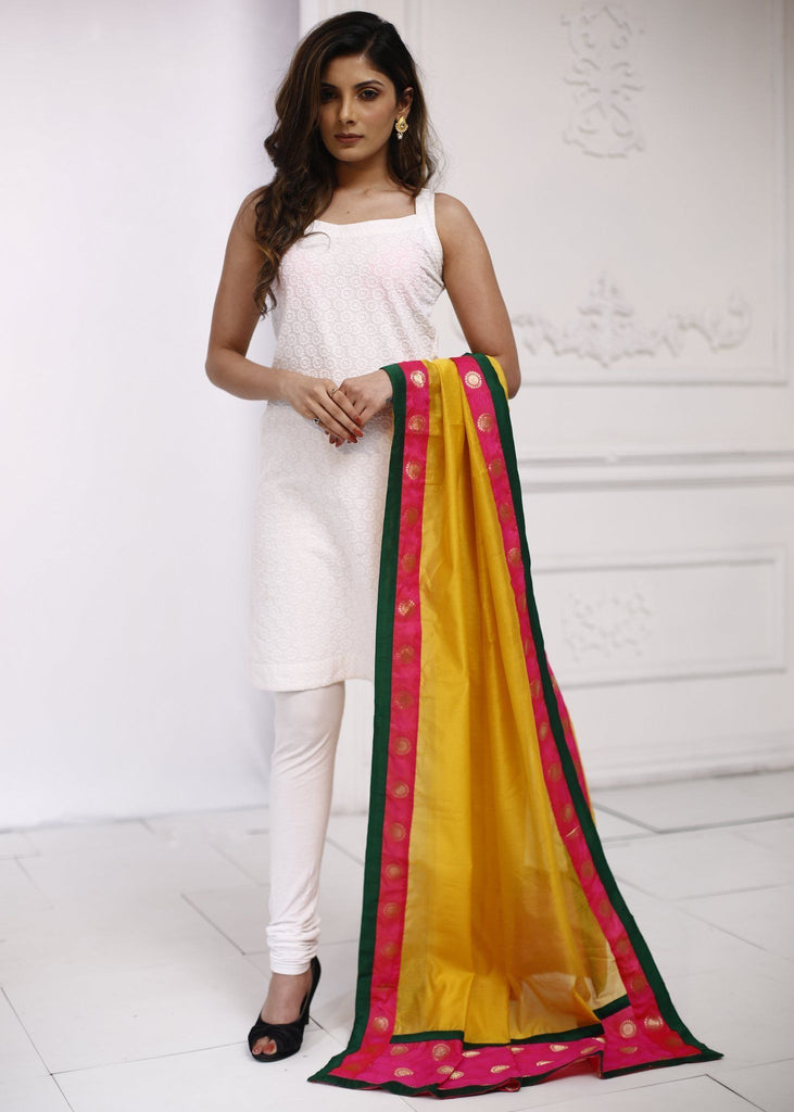 Yellow Chanderi dupatta with embroidered border 2 - Sujatra