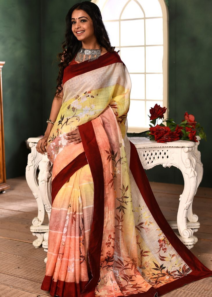 Exclusive Printed Linen Cotton Saree