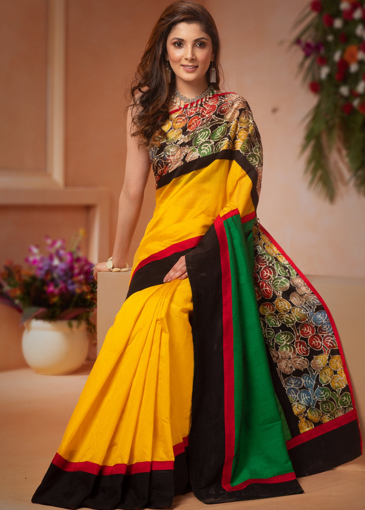 Exclusive Yellow chanderi saree with hand batik floral border - Sujatra