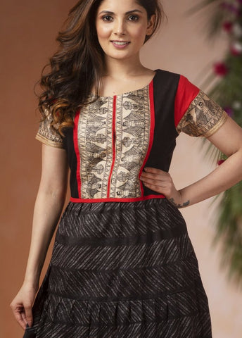 Exclusive cotton kurti with hand painted madhubani combination