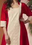 Red cotton silk kurti with embroidered panel