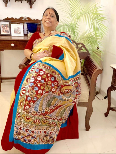 Exclusive hand painted kalamkari saree with beige bengal cotton silk combination