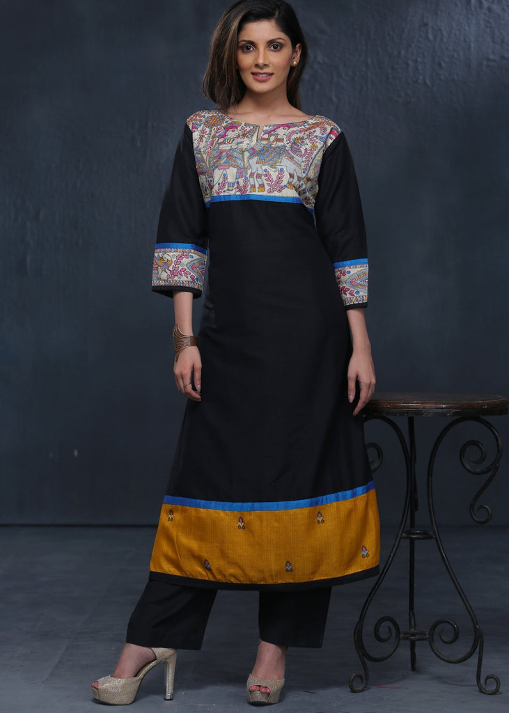 Indian Dress - Black Cotton Silk Kurta With Madhubani Print Combination