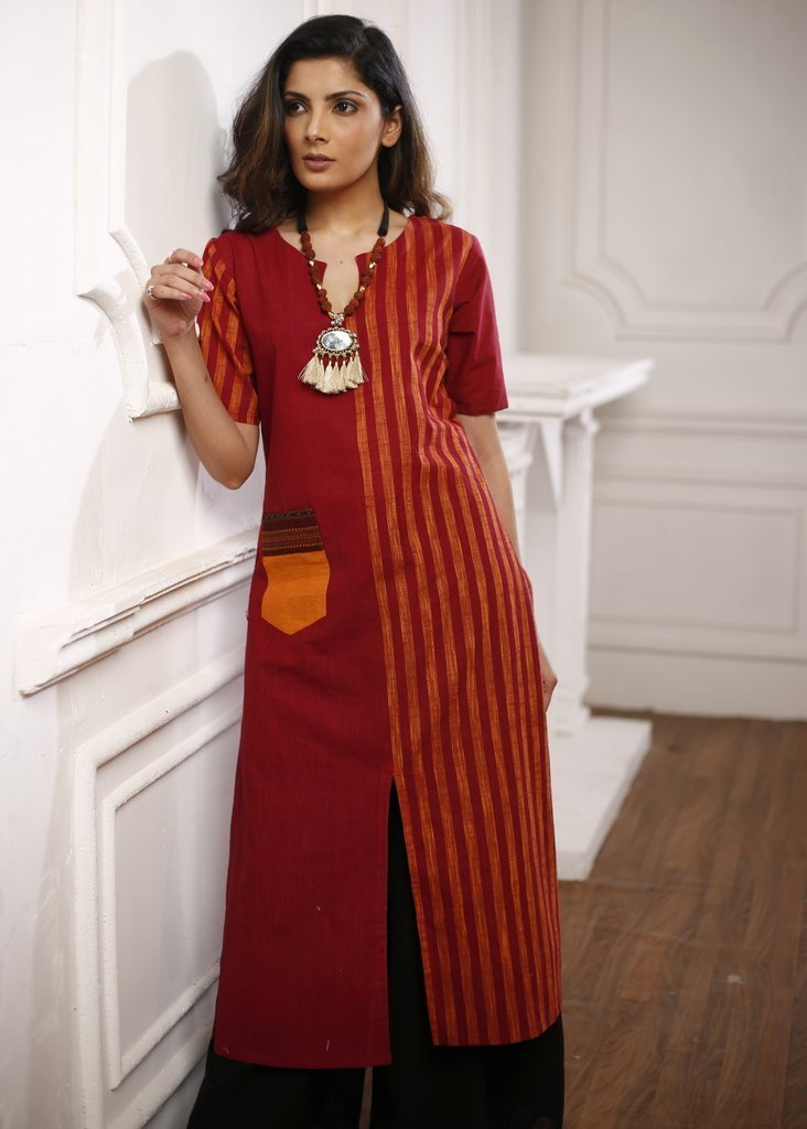 Indian Dress - Deep Red Handloom Cotton Kurta With Front Slit And Mustard Handloom Pocket