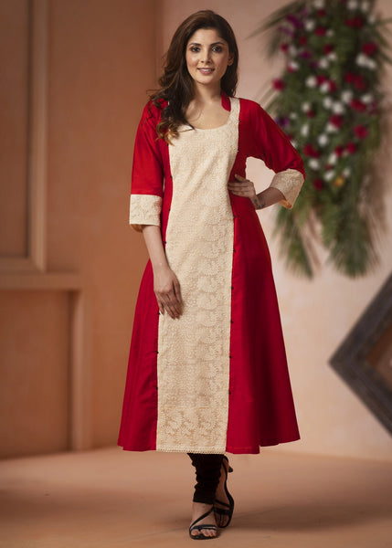 Indian Dress - Red Cotton Silk Kurti With Embroidered Panel