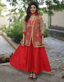 Indian Dress - Red Cotton Silk Long Dress With Embroidered Organza Jacket