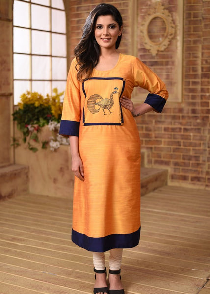 Indian Dress - Yellow Cotton Silk Kurti With Hand Painted Gond Tribal Art