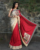 January Collection - Red Cotton Silk With Pure Tassar Silk