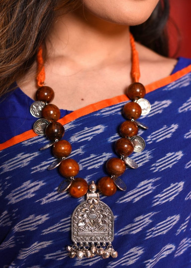 Jewelry - Big Wooden Beads Necklace With German Silver Pendant & Coin Tassels