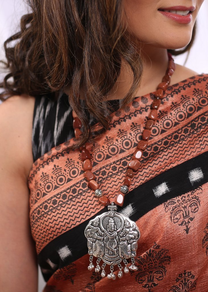 Jewelry - Brown Stone Beads Neckpiece With German Silver Pendant