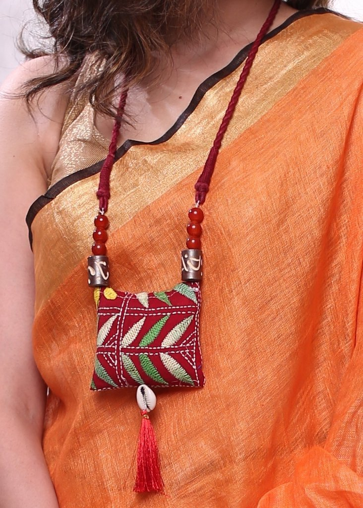 Jewelry - Embroidered Fabric Pendant With Glass & Wooden Beads