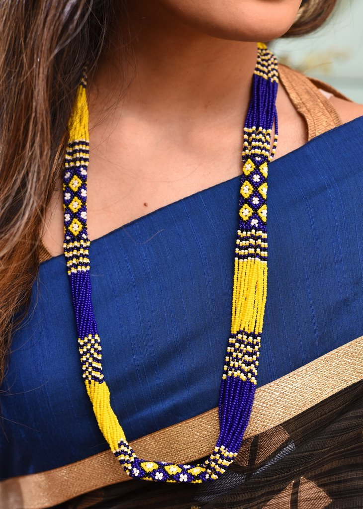 Jewelry - Exclusive Blue & Yellow Combination Seed Beed Necklace Set