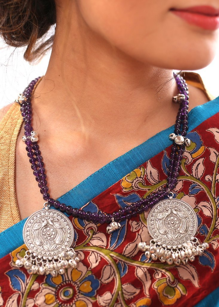 Jewelry - Exclusive Coin Pendant With Purple Beads & Ghungroo Neckpiece