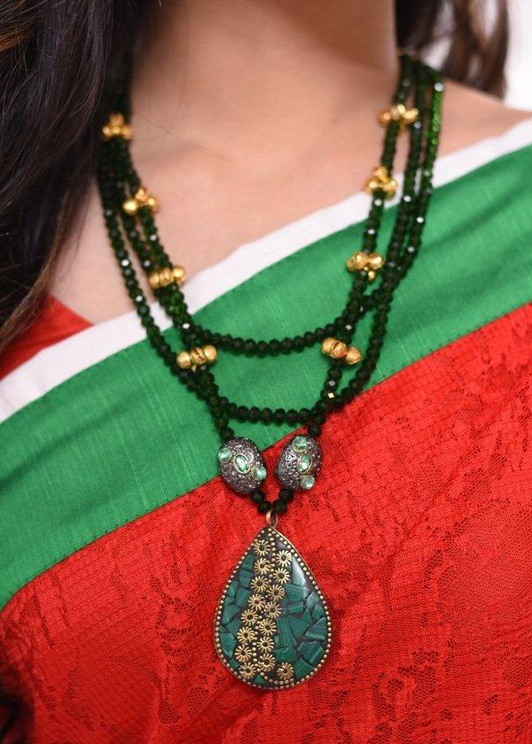Jewelry - Exclusive Glass Beaded Necklace With Ceramic Pendant & Ghungroo