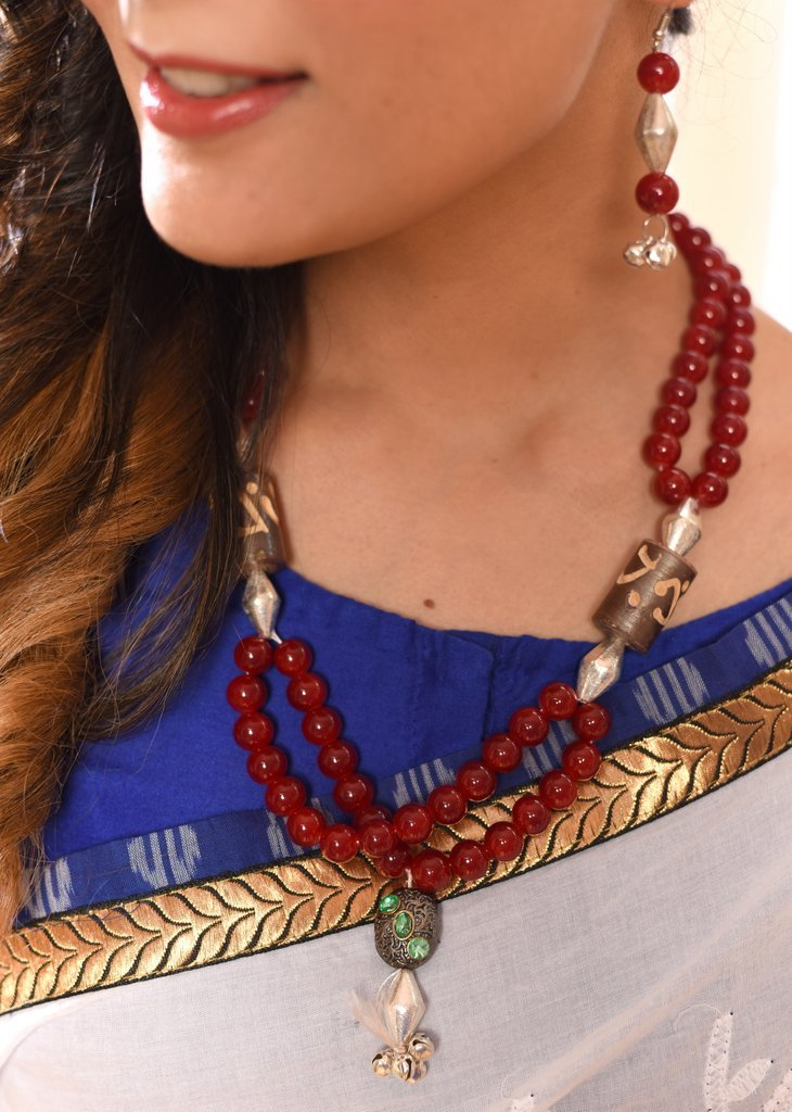 Jewelry - Exclusive Glass Beaded Necklace With Jaipuri Work Pendant