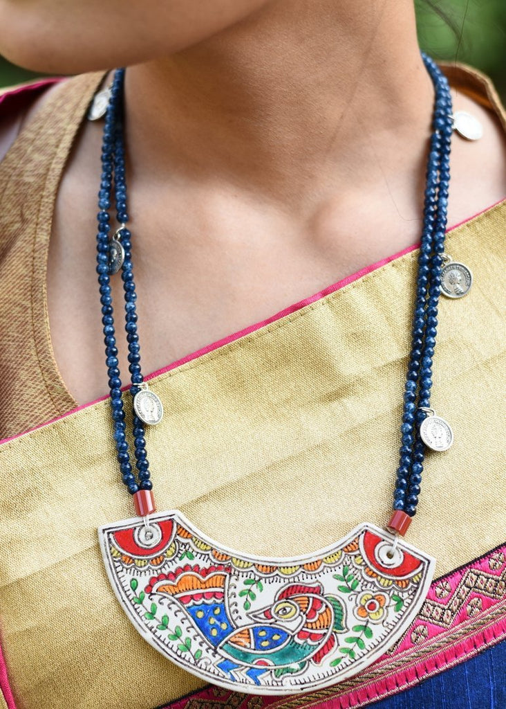 Jewelry - Exclusive Hand Painted Madhubani Painted Pendant With Glass Beads Necklace