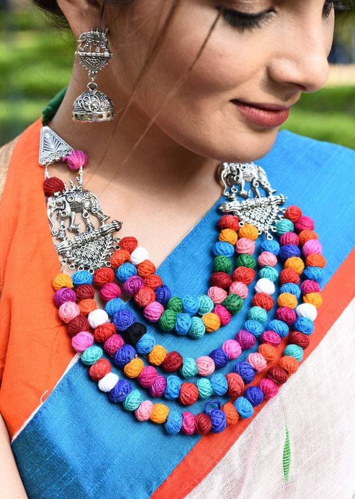 Jewelry - Exclusive Multicolor Multilayer Thread Ball And Elephant Necklace