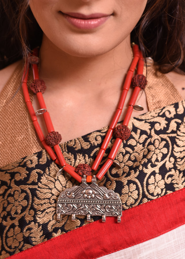 Jewelry - Exclusive Neklace With Rudraksh And German Silver Pendant