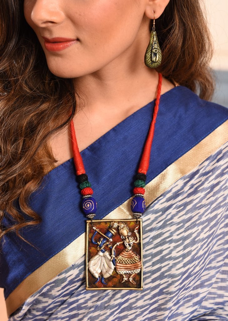 Jewelry - Exclusive Radha Krishna Pendant With Peacock Feather Earings Set