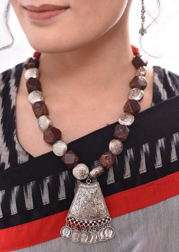 Jewelry - Exclusive Wooden Necklace With German Silver Pendant & Coin Tassel